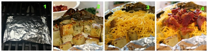 collage showing potatoes on grill and ensuing steps