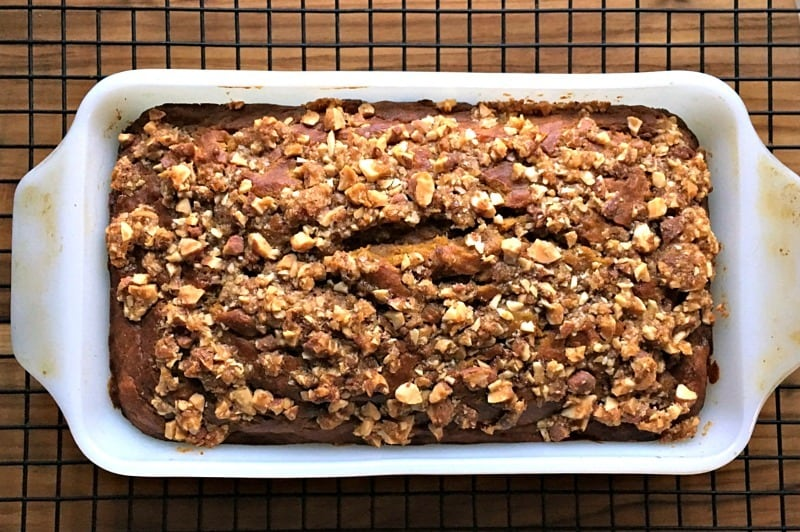 Easy Pumpkin Banana Bread with Blue Diamond Toasted Coconut Almond topping. Moist, delicious, goes perfectly with morning coffee or tea.