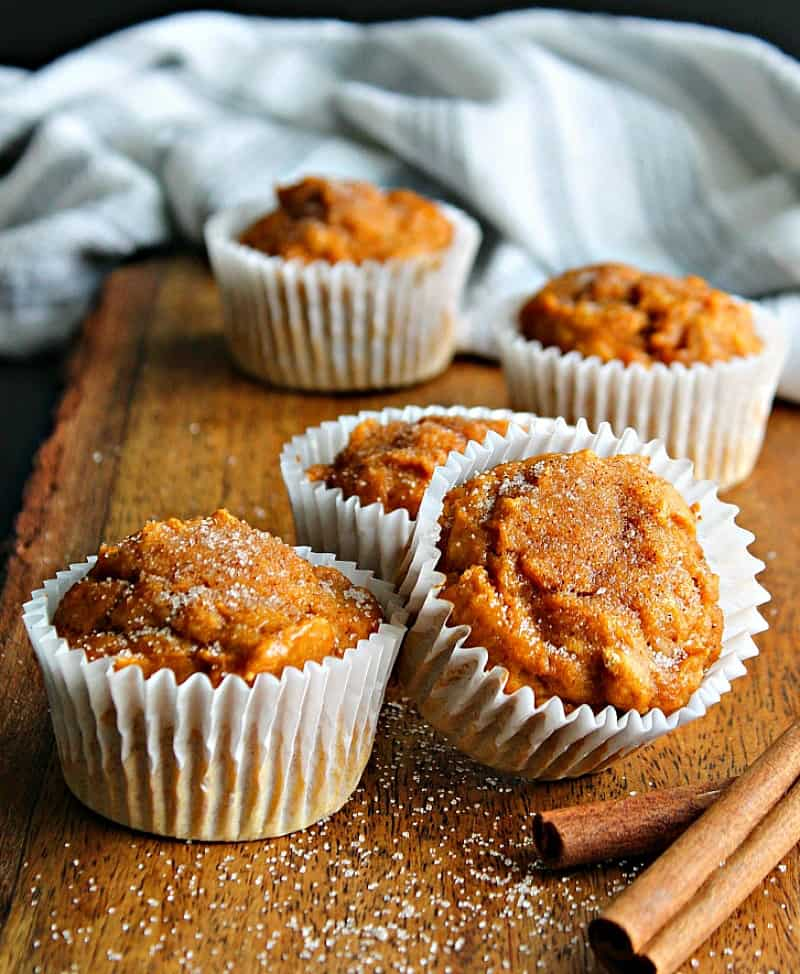 Pumpkin Spice Muffins with just 5 INGREDIENTS including a cinnamon-sugar topping. Loaded with pumpkin flavor ~ an easy, no fail muffin recipe.