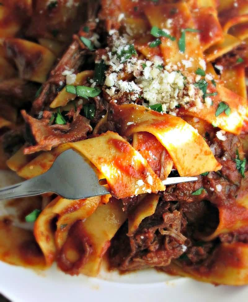 closeup tomato sauce soaked pasta with shredded beef