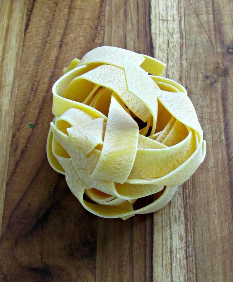 pappardelle pasta nest for braised beef ragu