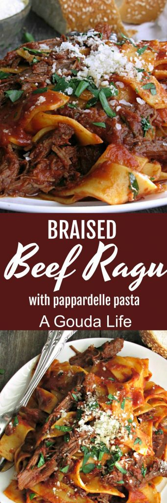 pinterest pin for braised beef ragu a gouda life