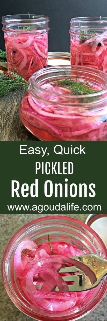 Pickled Red Onions ~ quick, easy to make this delicious, bright zesty condiment. Delicious in salads, on burgers and hot dogs or even tacos!
