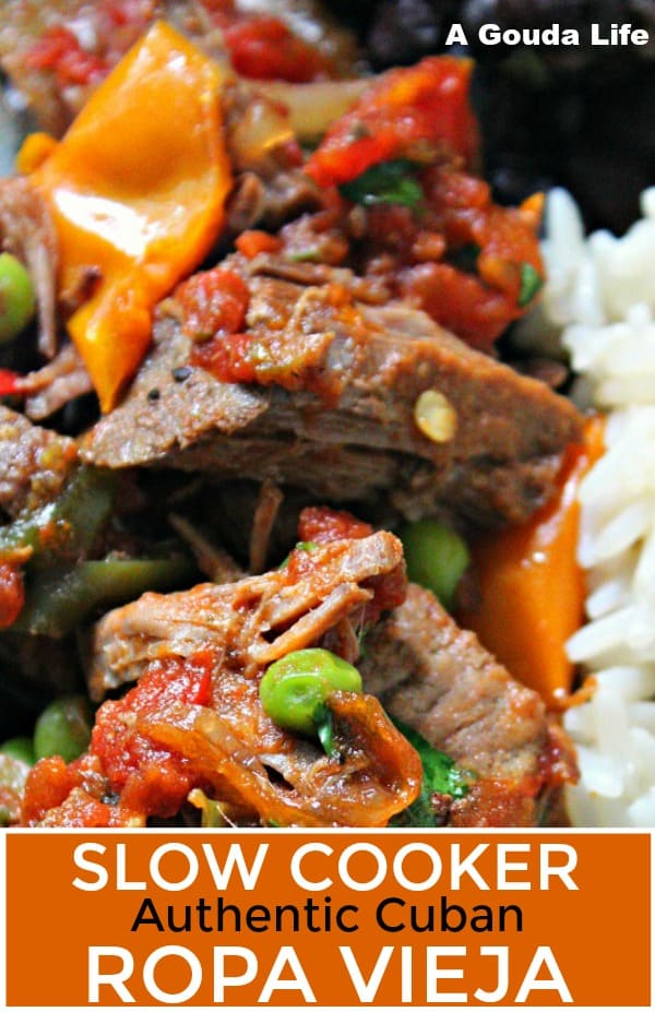 pinterest pin showing ropa vieja served with white rice