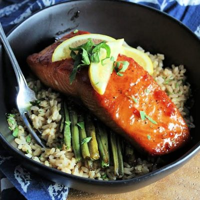 pan seared salmon with thai chili maple glaze