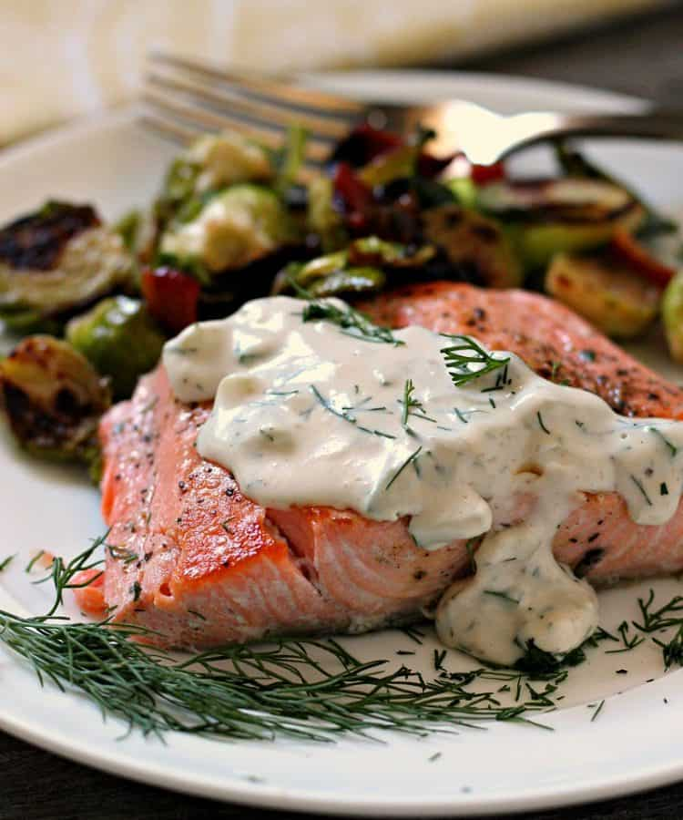 cucumber dill salmon ~ salmon filet topped with creamy cucumber dill sauce served with brussels sprouts