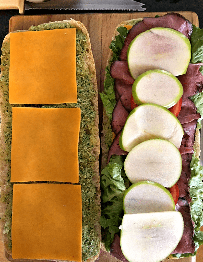 Pressed Roast Beef Sandwich: deli roast beef, cheese, lettuce, tomato, tangy apple & pesto-mayo on ciabatta, then pressed (no panini press needed).