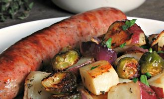 Baked Sausage Vegetable Sheet Pan Dinner ~ just 30 minutes to delicious fresh sausage, tender potatoes and earthy brussels spouts flavored with olive oil, honey, Dijon and fresh herbs.