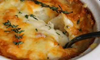 Easy Au Gratin Potatoes ~ layers of tender potatoes in a creamy, cheesy sauce and golden brown slightly crispy top. A classic comfort food side dish.