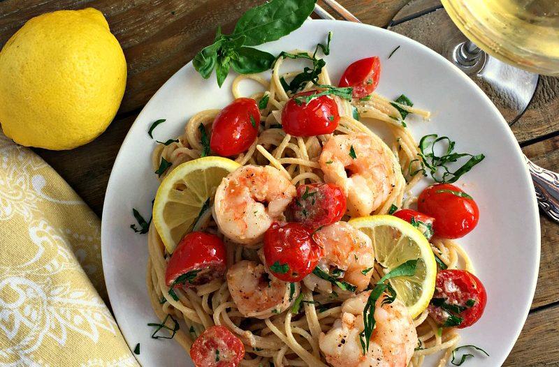 Light, lemony creamy shrimp past with NO heavy cream. Perfect summer dish.