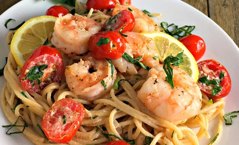 Light, slightly lemony creamy shrimp pasta with NO heavy cream. Great summer dish.