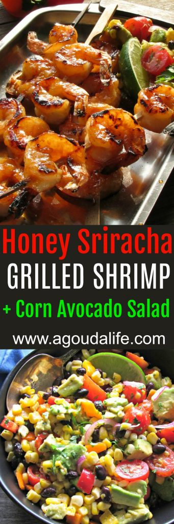 Honey Sriracha Grilled Shrimp Salad: slightly sweet, mostly spicy grilled shrimp + corn-avocado salad with a simple 3 ingredient cilantro-lime dressing.