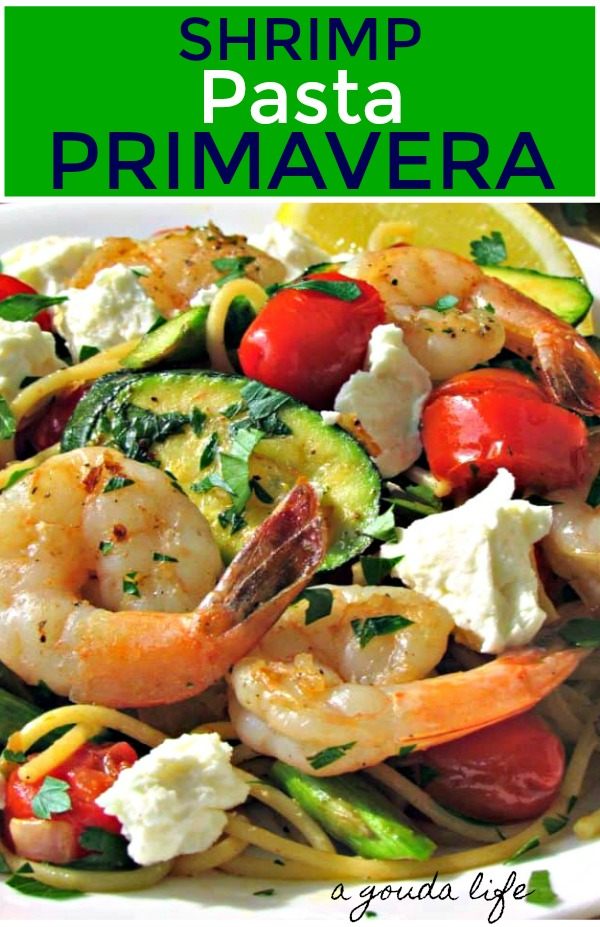 pinterest pin for shrimp pasta primavera