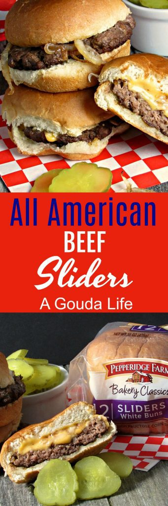 All American Beef Sliders ~ ground beef topped ~ and infused ~ with caramelized onions, cheese, pickles, ketchup and mustard all on timeless, unpretentious Pepperidge Farm slider buns