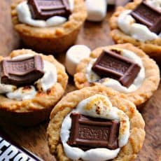 smores cookies cups baked with toasted marshmallow