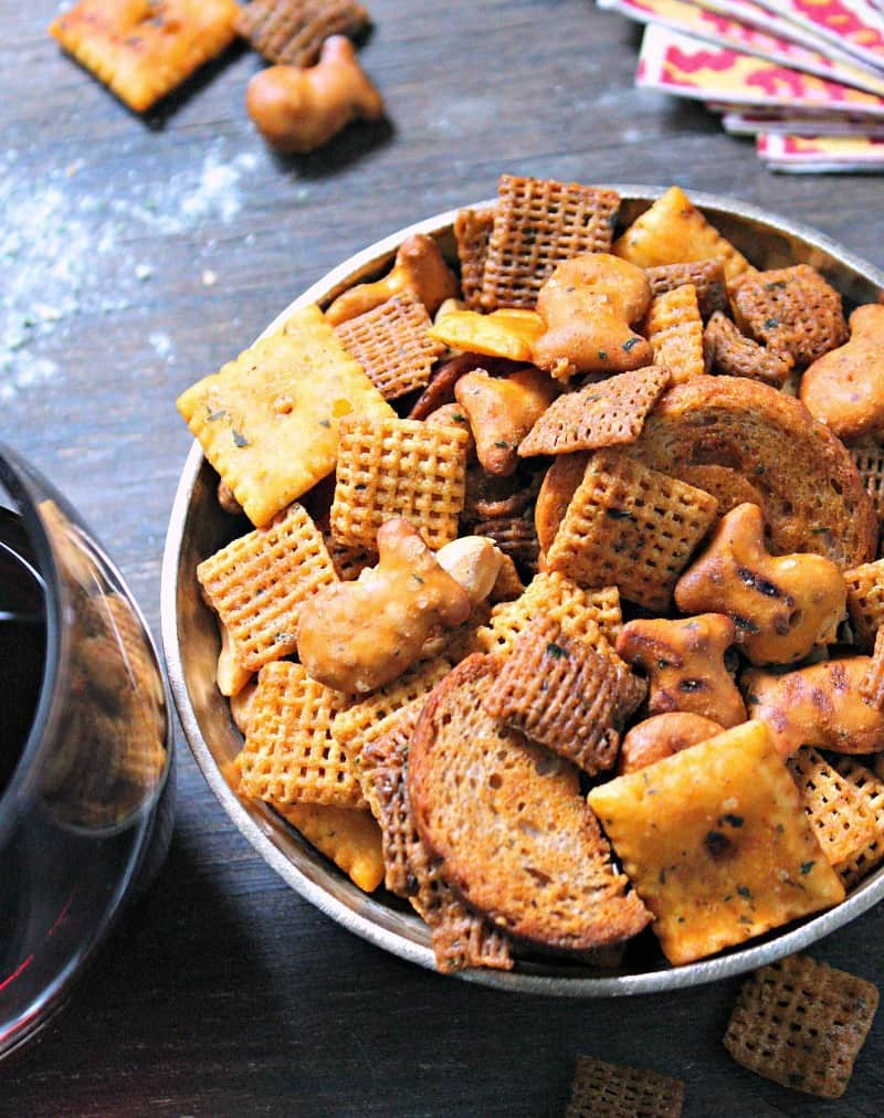 This Buffalo Ranch Snack Mix recipe is the ultimate party snack combining crunchy and salty plus a marriage made in heaven, Buffalo and ranch.