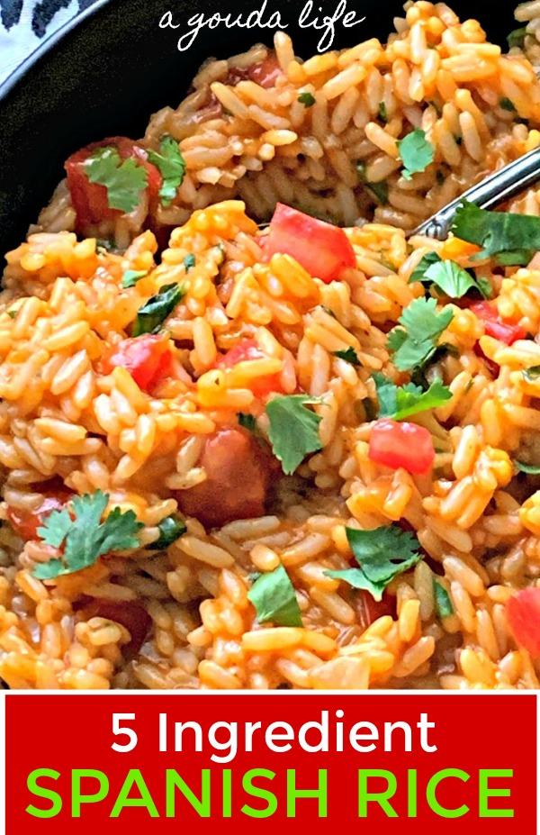 closeup of 5 ingredient spanish rice in black bowl