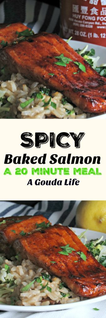 Spicy Baked Salmon: just 4 ingredients + the salmon for a great weeknight meal that's elegant enough to entertain with too and on the table in 20 minutes!