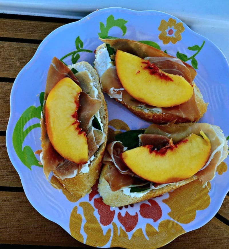 Peach and Prosciutto Bruschetta ~ the taste of fresh summer peaches combined with a few other ingredients for a delicious, easy any-time appetizer.
