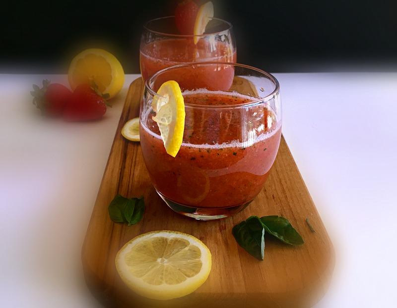 Light, fresh delicious adult strawberry lemonade.