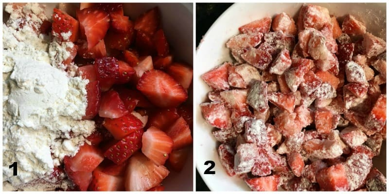 collage showing flour added to diced stawberries before adding to the bread
