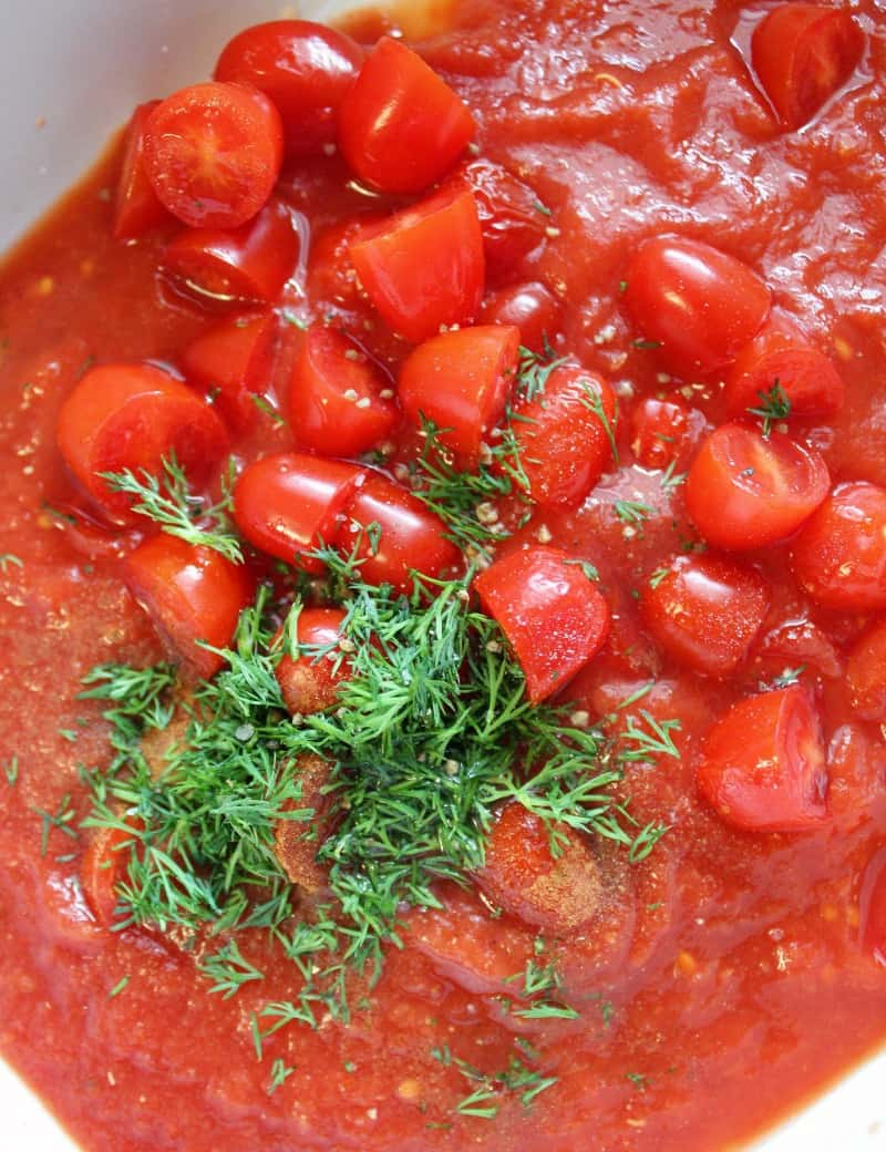 overhead view of the Greek inspired tomato sauce.