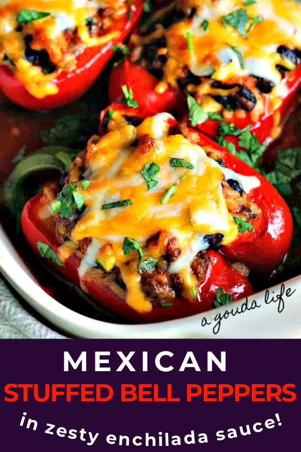 pinterest pin showing closeup of stuffed red bell peppers topped with melted cheese