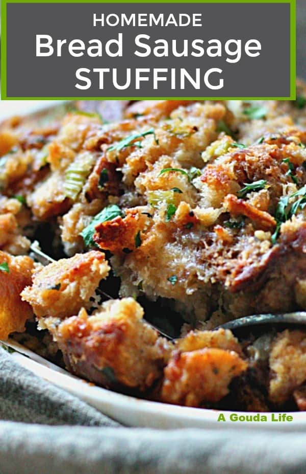 Traditional Bread Sausage Stuffing ~ classic recipe baked outside the bird with delicious fresh herb & sausage flavors. Serve with turkey, chicken or pork.