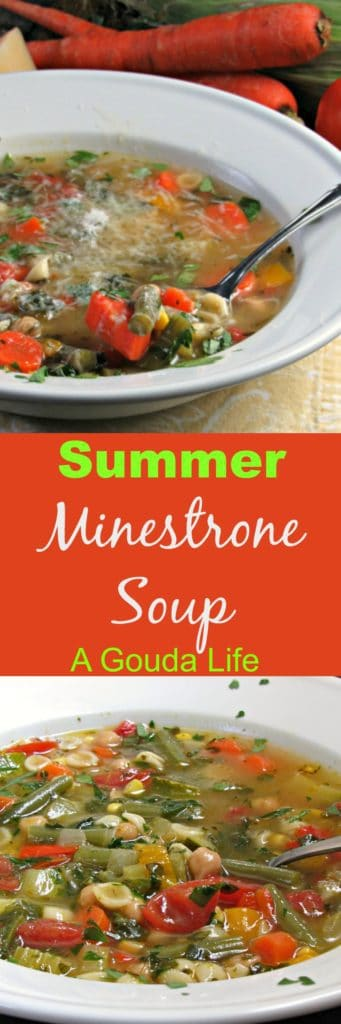 Summer Minestrone Soup ~ loaded with summer vegetables plus garbanzo beans, spinach and pasta. It's a taste of summer in a bowl.
