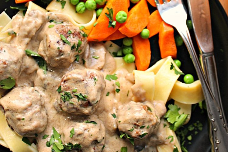 swedish meatballs and gravy over egg noodles