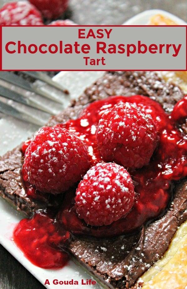 easy chocolate raspberry tart pin for pinterest
