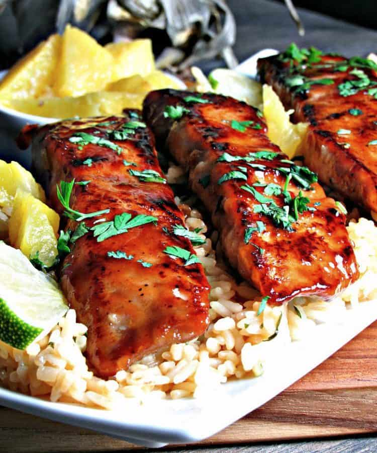 teriyaki salmon filets over rice
