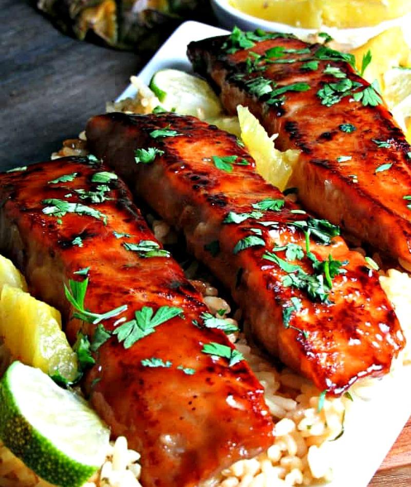 salmon with honey teriyaki glaze on bed of brown rice