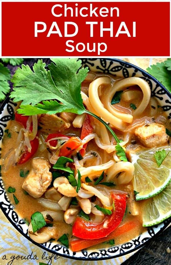 pinterest pin for chicken pad thai soup