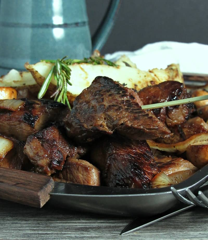 Honey Bourbon Pub Style Steak Tips ~ pan seared steak tips just like your favorite restaurant + sautéed mushrooms and onions and the best potatoes ever.