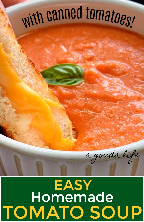 pinterest pin - white bowl with tomato soup and grilled cheese