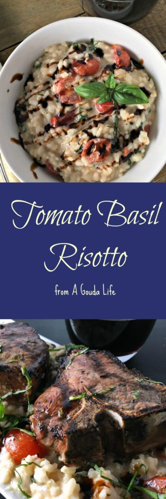 Tomato Basil Risotto with Grilled Lamb Chops from The Hungry Bluebird.