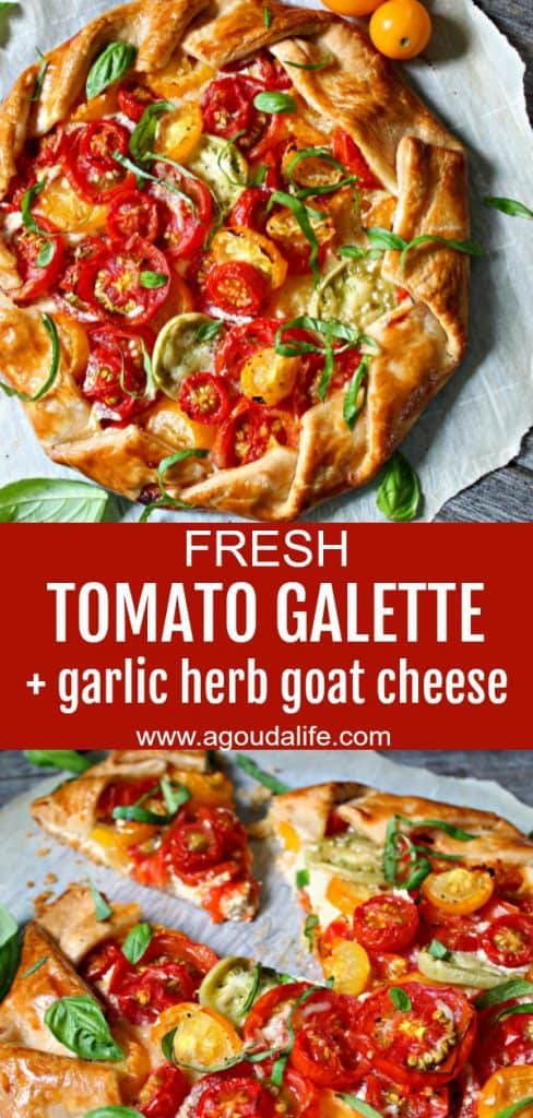 Tomato Galette ~ sweet summer tomatoes baked with tangy goat cheese, fresh basil and thyme wrapped in a buttery, flaky crust.