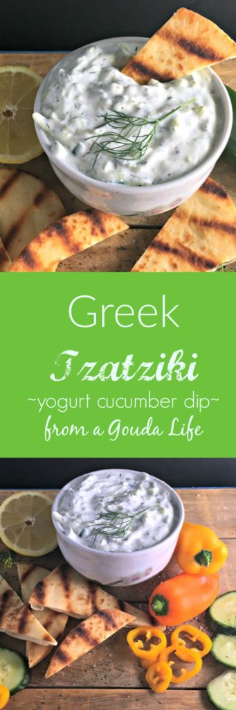 Easy, authentic Greek Tzatziki ~ delicious with vegetables as a dip or with grilled chicken.