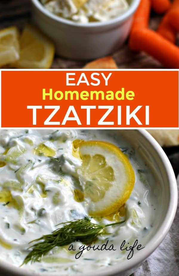 bowl of tzatziki sauce garnished with dill