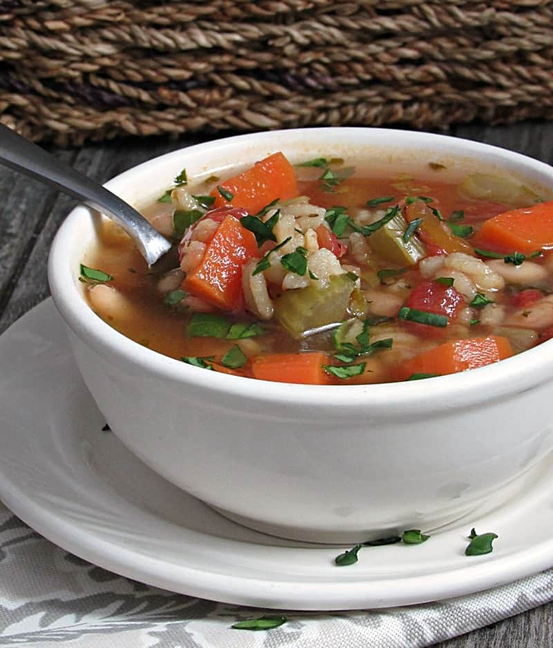 Vegetable Barley Soup ~ hearty, nourishing delicious comfort in a bowl. This soup is loaded with vegetables, beans and barley, packed with fiber and protein.