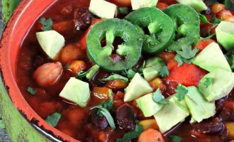 Tex Mex Veggie Chili ~ spicy, hearty, carnivore approved. Loaded with robust Tex-Mex flavors and packed with beans and vegetables.