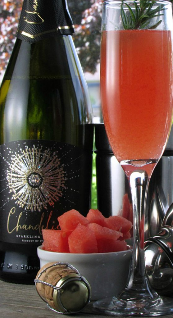 watermelon sparkling wine cocktail ~ lightly effervescent cocktail made with fresh watermelon juice and rosemary infused honey