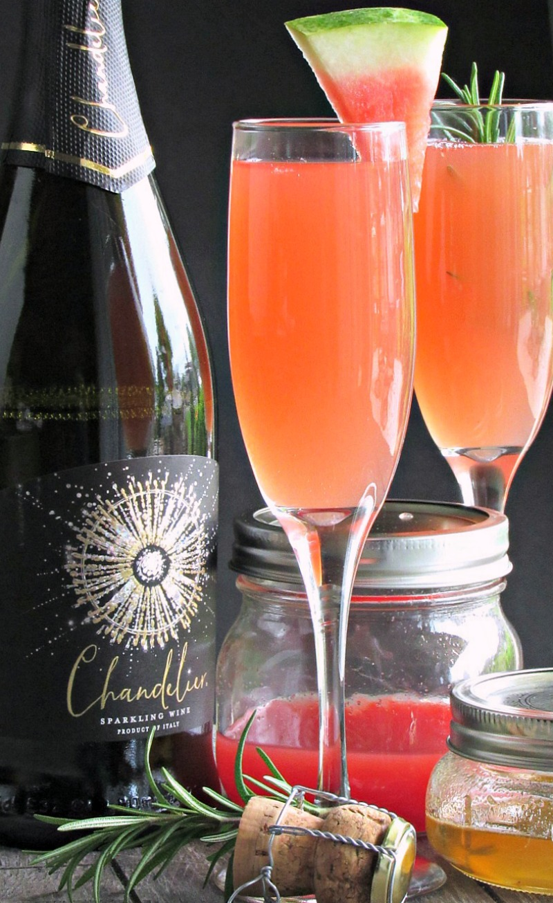watermelon sparkling wine cocktail ~ made with fresh watermelon juice and chandelier sparkling wine