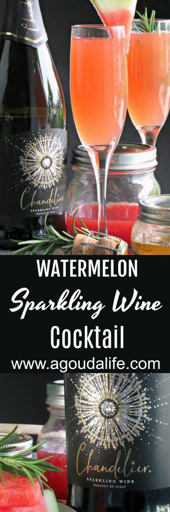 watermelon sparkling wine cocktail ~ pin for pinterest shows cocktail, jar of watermelon juice and chanderlier sparkling wine