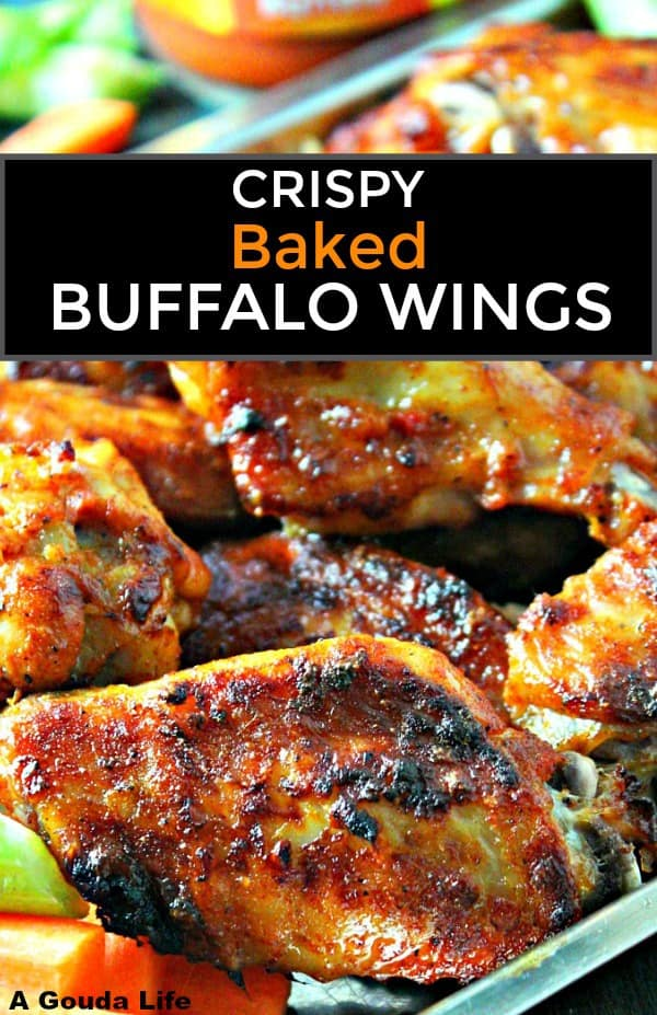 Crispy Baked Buffalo Wings ~ simple no-fail recipe for oven baked spicy buffalo ranch chicken wings. Baked not fried, same great flavor.
