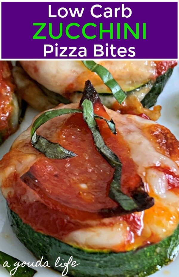 round sliced zucchini pizza bites garnished with basil